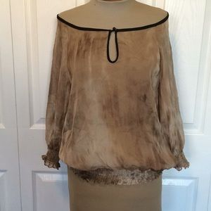 Zara silk tie dye blouse M